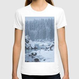 Heavy snow fall lake Fusine, Italy T-shirt