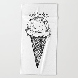 Hi la la ! Ice Cream Cone Beach Towel