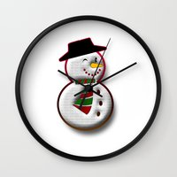 snowman Wall Clocks featuring Snowman by Gaspar Avila