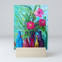 Antique Bottles and Flowers Mini Art Print