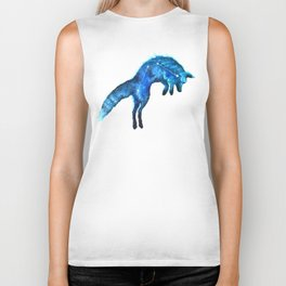 Space Fox | Fox Constellation | Leaping Fox | Double Exposure Fox Biker Tank