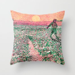 Van Gogh : The Sower (Sower with Setting Sun) Pink Peach Throw Pillow