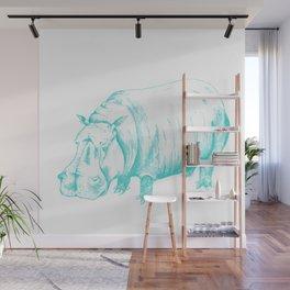 Hippo Turqoise Wall Mural