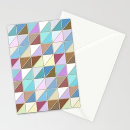 Mosaic Tile Pattern in Sea Glass Shades of Aqua and Tan Stationery Cards