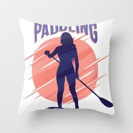 Paddling standing woman Throw Pillow