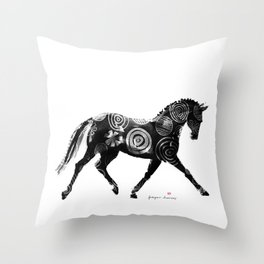 Horse (Extended trot) Throw Pillow