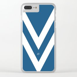 Blue V Abstract Retro Design Clear iPhone Case