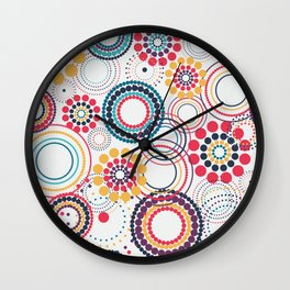 Flowers of Circles (White Background) Wall Clock