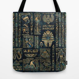 Egyptian hieroglyphs and deities -Abalone and gold Tote Bag