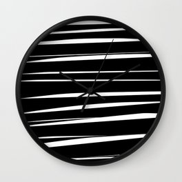 Black and White Abstract Stripes Wall Clock