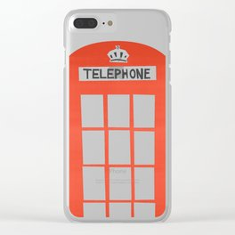 Red London Telephone Box Clear iPhone Case