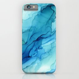 Emerald Sea Waves - Abstract Ombre Flowing Ink iPhone Case