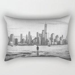 New York City Skyline Views and Vibes Black and White Rectangular Pillow