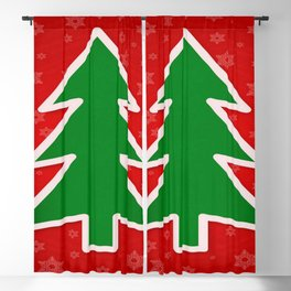 Christmas Tree on Red Background With Snowflakes Blackout Curtain
