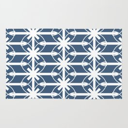 Seamless Geometric White Abstract Pattern on Colorful Background Rug