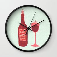 wine Wall Clocks featuring Wine by Cat Coquillette