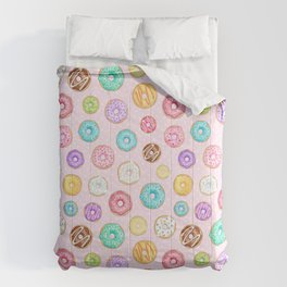 Scattered Rainbow Donuts on pale spotty pink - repeat pattern Comforters