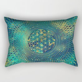 Flower of life Marble and gold Rectangular Pillow