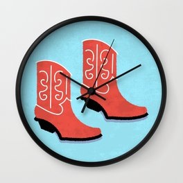 Red Cowboy Boots Wall Clock