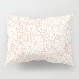 Nude with white lace flowers and birds Pillow Sham