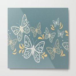 Butterfly White On Blue Background Metal Print