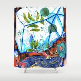 Mermaid blue and red Shower Curtain