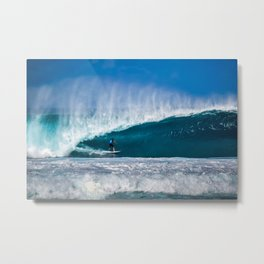 Surfing Pipe Metal Print