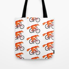 Fox Riding Bicycle Tote Bag