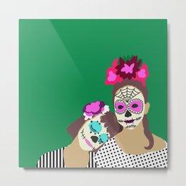 Sugar Skull Halloween Girls Green Metal Print