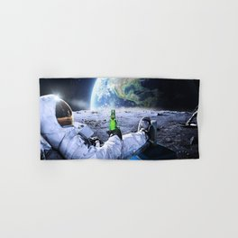 Astronaut on the Moon with beer Hand & Bath Towel