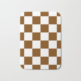 Large Checkered - White and Chocolate Brown Bath Mat