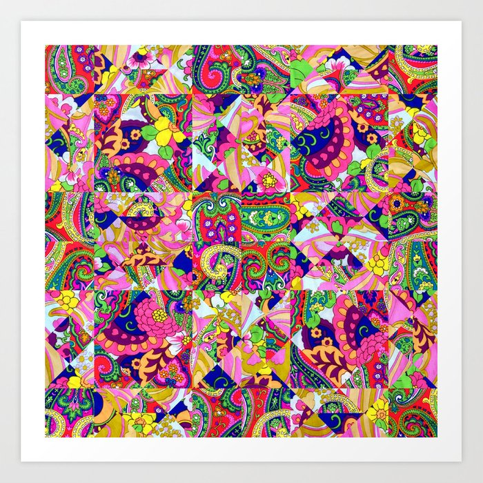 60s Crown Of Thorns Quilt Art Print By
