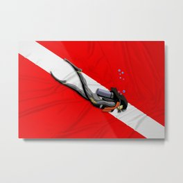 Diver And Dive Flag Metal Print