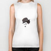 charlie chaplin Biker Tanks featuring Charlie Chaplin by Ilariabp.art