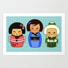 kokeshis (Japanese dolls) Art Print
