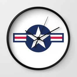 US Airforce style roundel star Wall Clock