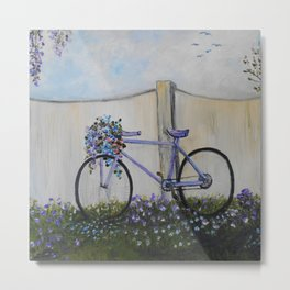 The Purple Bicycle Metal Print