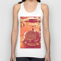 telephone Tank Tops featuring old telephone by gzm_guvenc