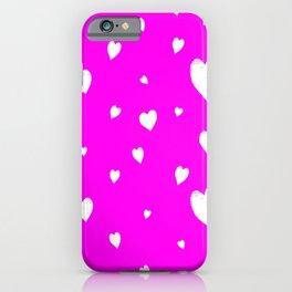 Hand-Drawn Hearts (White & Magenta Pattern) iPhone Case