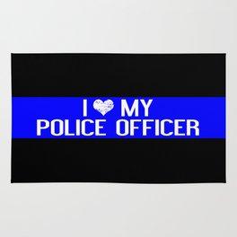 Police: I Love My Police Officer (Thin Blue Line) Rug