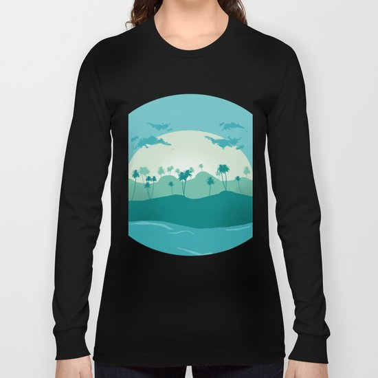 Lonely palms on tropic beach Long Sleeve T-shirt