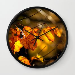 Linden tree leaves in autumn Wall Clock