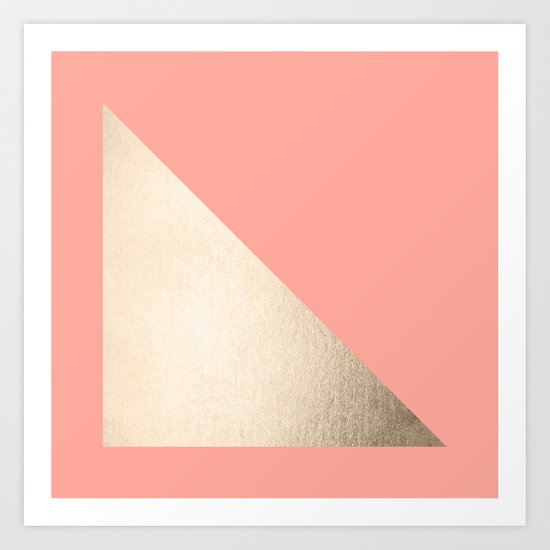 Simply Shadow in White Gold Sands on Salmon Pink Art Print