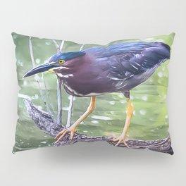 Green Heron Hunting Pillow Sham
