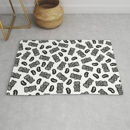Jelly Beans & Gummy Bears Pattern - black on white Rug