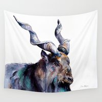 goat Wall Tapestries featuring Goat 3 by Slaveika Aladjova