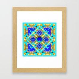 Blue Art Nouveau Turquoise Butterfly Designs Framed Art Print