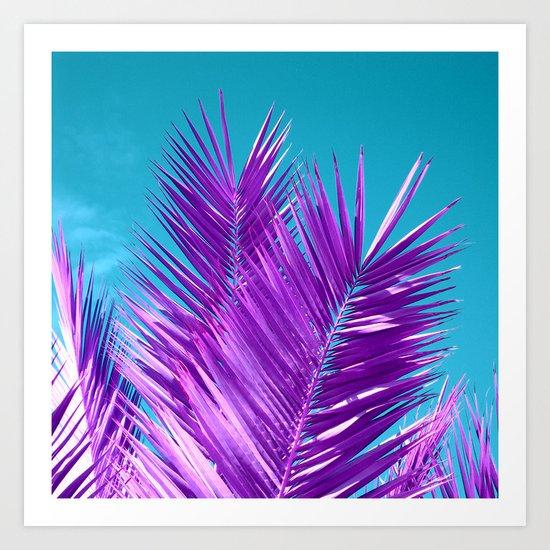 purple palm tree Art Print
