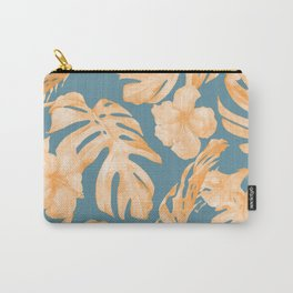 Island Hibiscus Palm Coral Teal Blue Carry-All Pouch