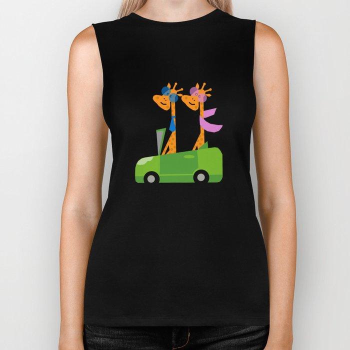 Giraffes and Car Green Biker Tank